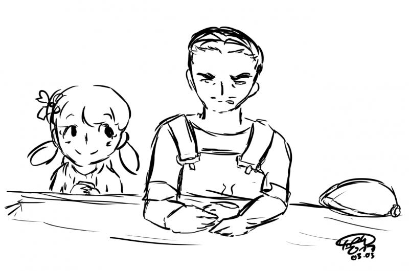 Hyakaru und Resetti im Café Taubenschlag