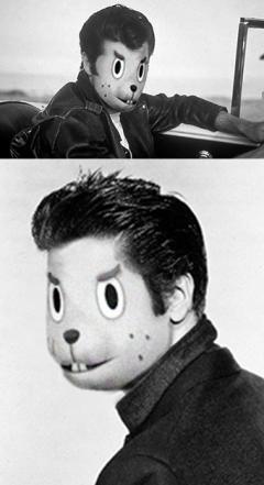 Björn als Danny Zuko aus Grease und Elvis Presley